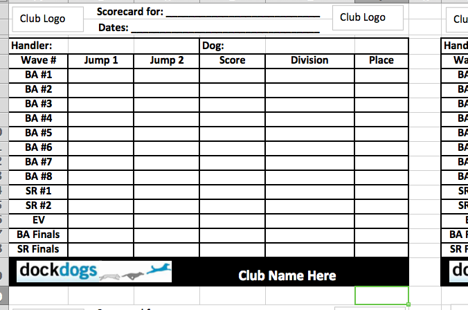 DockDogs Event Scorecard Front