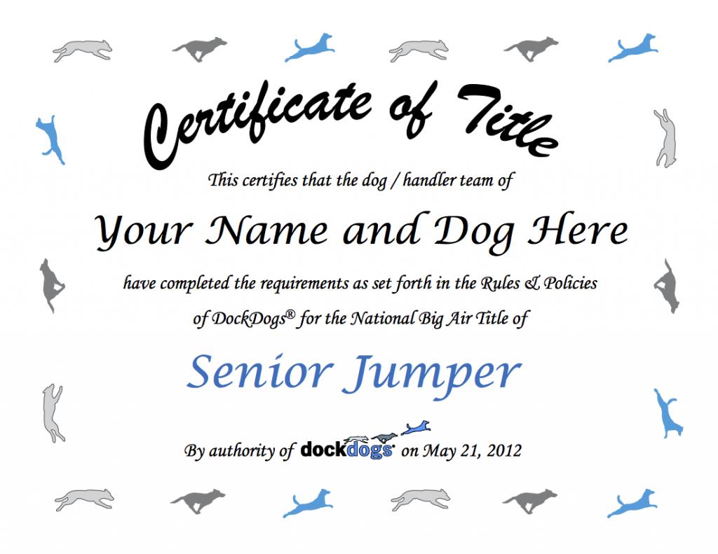 2012 DockDogs TItle Certificate